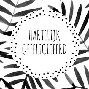 sticker | hartelijk gefeliciteerd | wit & zwart | stippen