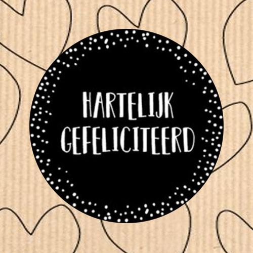 sticker | hartelijk gefeliciteerd | zwart | stippen