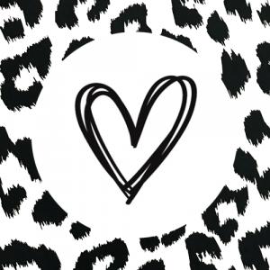 sticker | hartje | droodle | wit-zwart