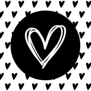 sticker | hartje | droodle | zwart-wit