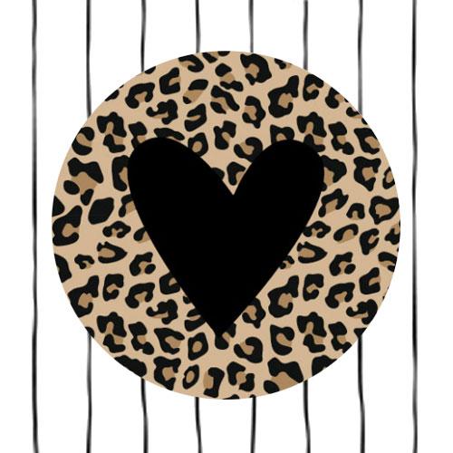 sticker | hartje | luipaardprint en zwart