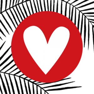 sticker | hartje | rood-wit