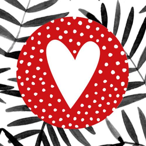 sticker | hartje | rood-wit | stippen