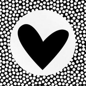 sticker | hartje | wit-zwart