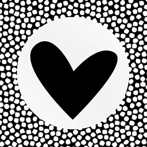 sticker   hartje   wit-zwart
