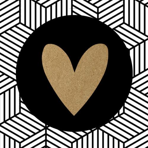 sticker | hartje | zwart en kraft