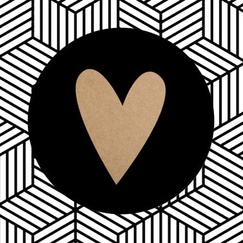 sticker | hartje | zwart/kraft