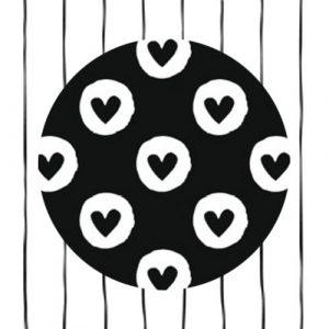 sticker | hartjes | zwart/wit