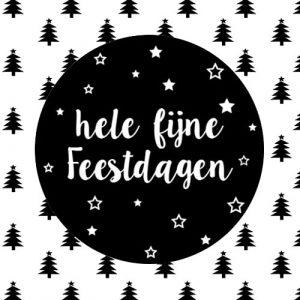 sticker | hele fijne feestdagen | zwart-wit