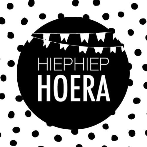 sticker | hiephiep hoera | zwart-wit
