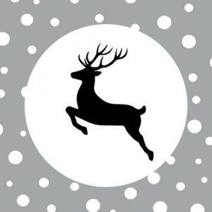 sticker | kerst | rendier | zwart-wit