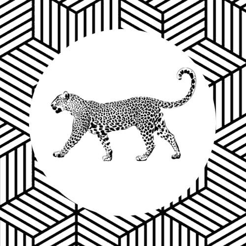 sticker | luipaard | wit-zwart