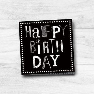 verjaardagskaart | happy birthday | font party | zwart-wit