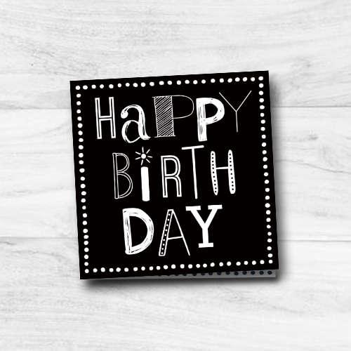 verjaardagskaart   happy birthday   font party   zwart-wit
