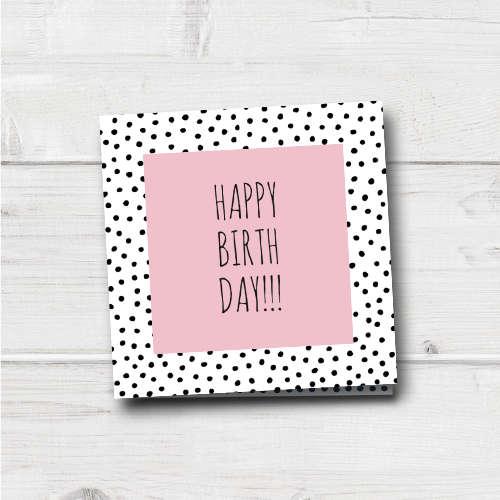 verjaardagskaart | happy birthday | pink and dots