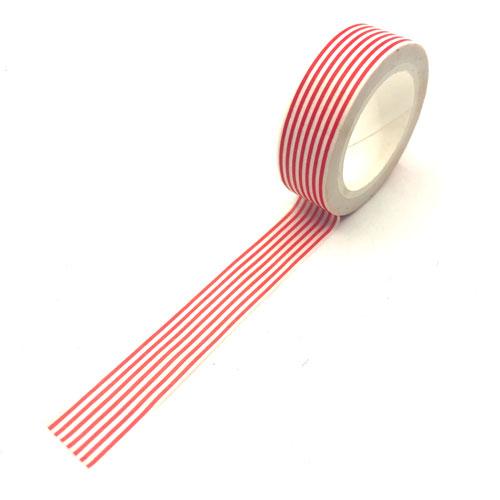 washi tape | rol | streepjes | rood-wit