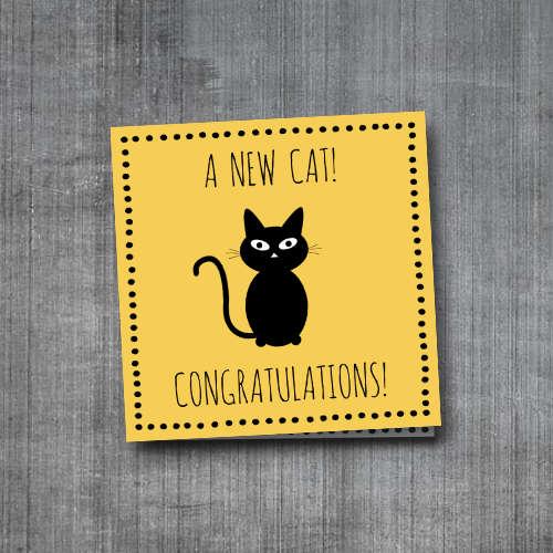 wenskaart: a new cat, congratulations