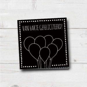 wenskaart: gefeliciteerd, met ballonnen