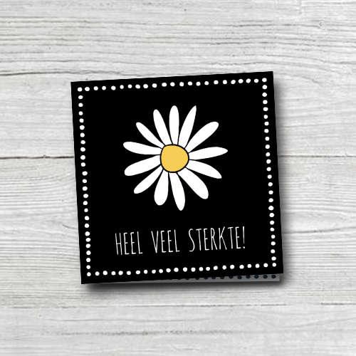 wenskaart: heel veel sterkte, met grote bloem