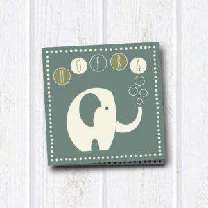 wenskaart: hoera, met olifant