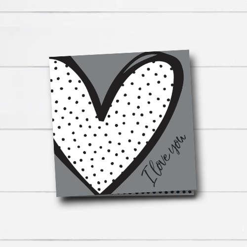 wenskaart | I love you | heart & dots