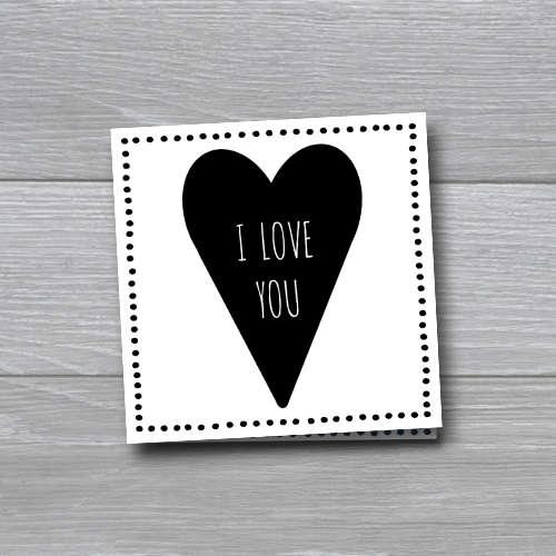wenskaart: I love you, met een groot hart