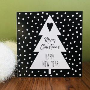 kerstkaartje met kerstboom: merry christmas