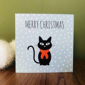 kerstkaartje met kat: merry chistmas
