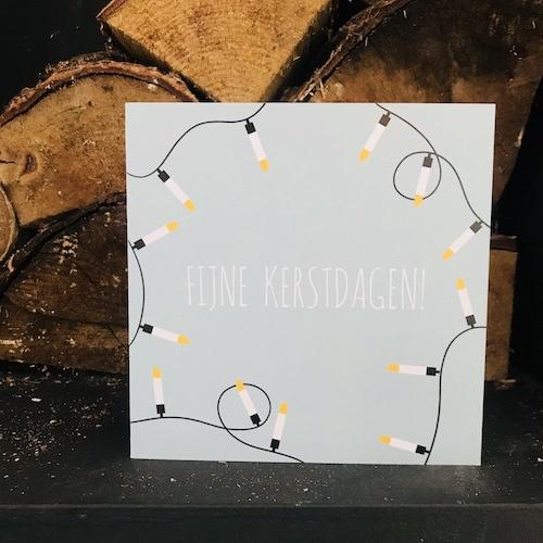 kerstkaartje met lampjes: fijne kerstdagen