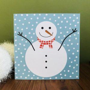 kerstkaartje met sneeuwpop