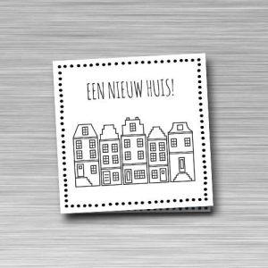 wenskaart: een nieuw huis, met Amsterdamse huisjes