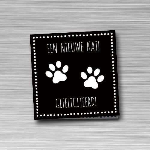 wenskaart: een nieuwe kat, gefeliciteerd