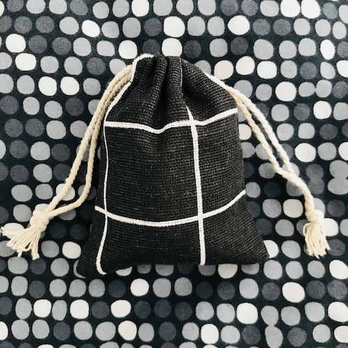 zakje van katoen | zwart-wit | geruit